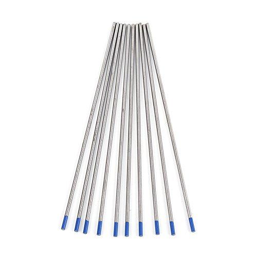 10 Electrodos De Tungsteno TIG, WL20 Punta Azul 2% Lantano Profesional 2.0% Varilla Tig Lantanada WL20 Para Soldadura CC De Aceros Inoxidables, Aleaciones De Níquel, Aluminio(2,4 * 150 mm)