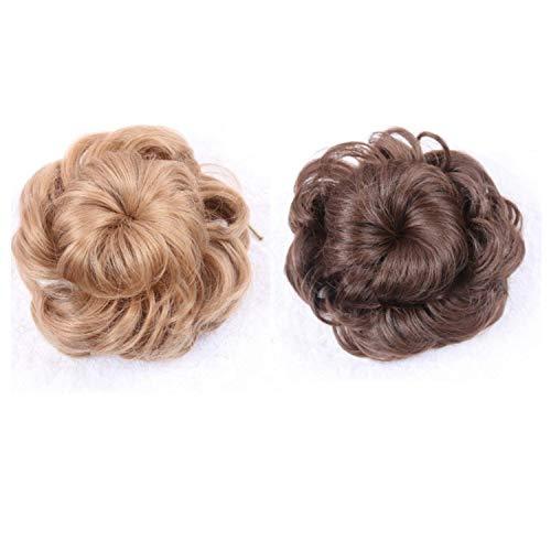 Wohlstand 2 Pcs Extensiones de pelo rizado rizado,natural, rizado 12cm, ondulado, para mujeres, coleta, extensiones de pelo, donut, accesorios para el pelo