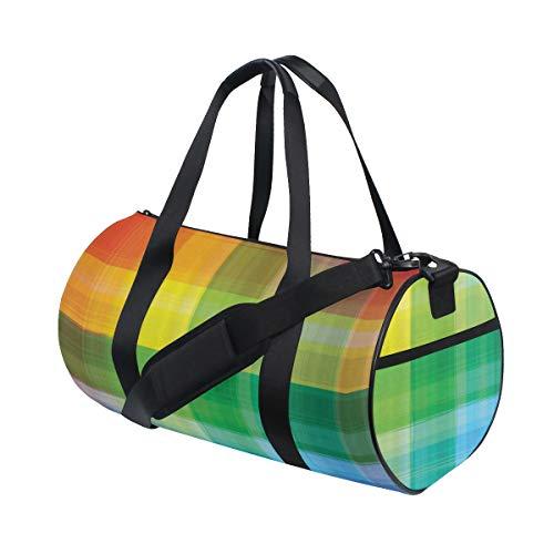 HARXISE DIY Vintage Rainbow Retro Plaid Design Cuadros a cuadros Patrón geométrico coloreado,Bolsa de equipaje de viaje Deporte Lienzo ligero Equipaje de fitness Bolso de tambor Desmontable