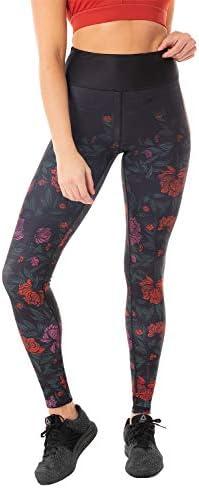 Kyodan Womens High Waist Leggings Workout Yoga Running Tights Black Roses product image