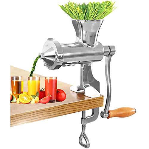 Manueller Entsafter, Edelstahl Weizengras Juicer Manuelle für Weizengras, Obst, Gemüse, Saftpresse mit Schraubzwinge zur Tischmontage