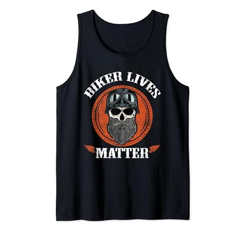Vintage Biker Lives Matter Skull Con Barba Divertente Biker Canotta
