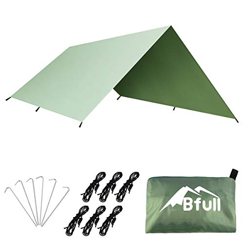 BFULL Camping Tarp Shelter Waterproof Lightweight & Portable Hammock Rain Fly Tent Tarp Picnic Blanket for Outdoors 3m x 3m