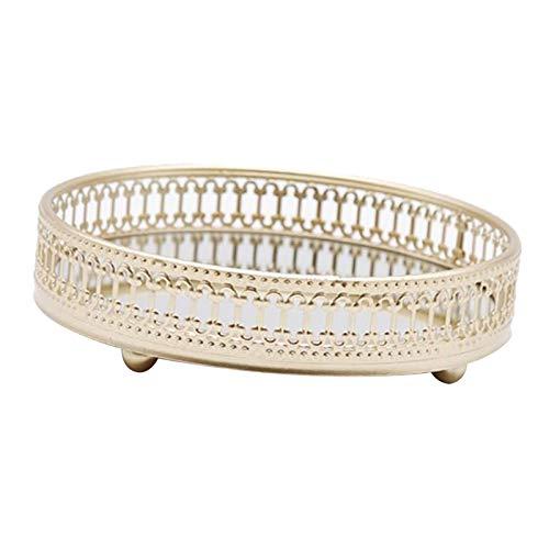 #N/a Bandeja de almacenamiento de joyas de vidrio Vintage bandeja de cosméticos con espejo de vela de Perfume decorativo de almacenamiento de - 17,5x17,5x5cm línea