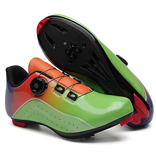 Calzado de Ciclismo para Hombre - Calzado de Bicicleta de Carretera con Velocidad, Zapatos de pelotón con Hebilla Delta Compatible para Carreras de equitación en Interiores Adecuado para Ciclismo