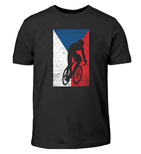 Camiseta infantil con diseño de la bandera de la República Checa para bicicleta Negro 152 cm/164 cm