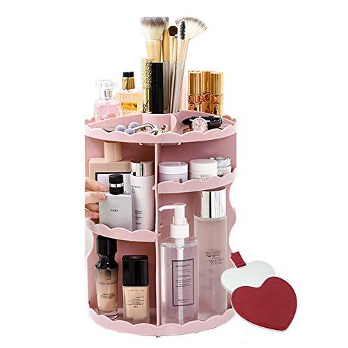 XH Organizador de Maquillaje Pantalla de Almacenamiento cosmético para cremas, perfumes, lociones y más para el Cuidado de la Piel, Rosa, Negro, (Color : Pink, Size : 23 * 23 * 30.5cm)