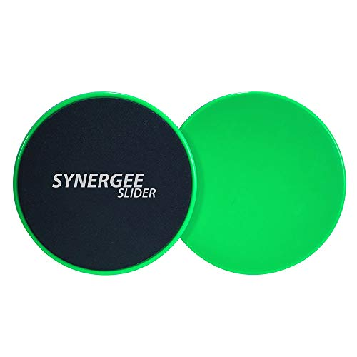 Electric Lime Green Core Sliders. Dual Sided Use on Carpet or Hardwood Floors. Abdominal Exercise Equipment
