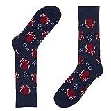 Navy Blue Octopus Novelty Socks for Men - Fun Colorful Animal Dress Socks - Premium Cotton - Size 8-13 (One Pair)