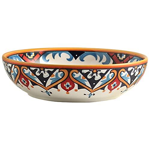 Cuenco creativo pintado a mano, vajilla de cerámica, plato profundo, bajo vidriado, cocción a alta temperatura, puede contener sopa, ensalada, fruta, postre, microondas, apto para lavavajillas, 8 p