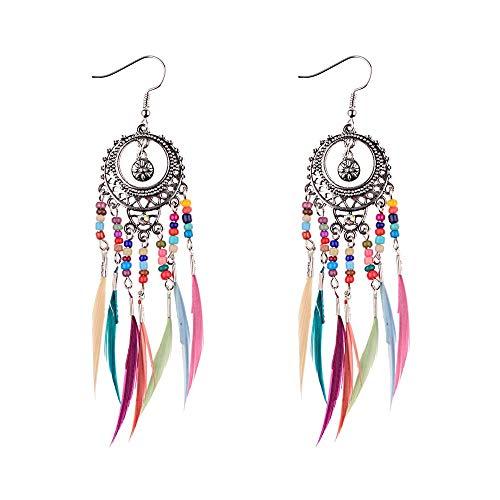 YANGYUAN Elegantes del Pendiente de joyería y Accesorios Día de San Valentín, a Cielo Abierto de Las Mujeres Tallada Redonda Pendientes de Plumas Gota Fringe (Color : Silver)