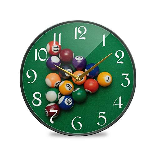 ART VVIES Reloj de Pared Redondo de 9,5 Pulgadas sin tictac silencioso operado con Pilas Oficina Cocina Dormitorio Decoraciones para el hogar-Billar Americano Piscina en Mesa Verde Colorido Ba