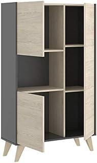 HABITMOBEL Mueble aparador Vitrina Acabado Color Grafito y Natural Medidas 135x81x43 cm de Fondo