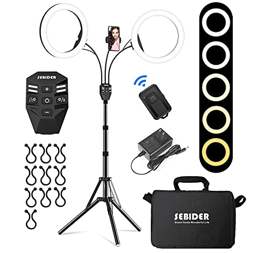 SEBIDER LED Ring Light with Tripod Stand & Phone Holder,Dual LED Ring Lights Dimmable with 5 Light Modes(2700-6500K)&12 Brightness for Makeup/Photography/TikTok/YouTube/Selfie Live Streaming (10 inch)