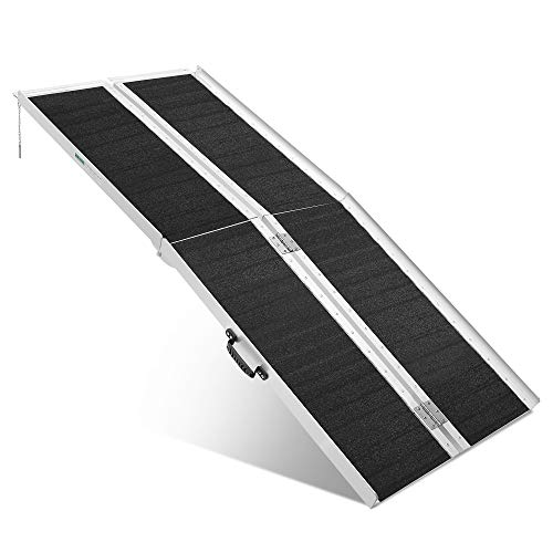 ORFORD Non Skid Wheelchair Ramp 6FT, Suitcase Threshold Ramp with an Applied Slip-Resistant Surface, Portable Aluminum Foldable Mobility Scooter Ramp, for Home, Steps, Stairs, Doorways, Curbs