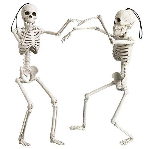 OKPOW 40cm Halloween Posable Skeletons Realistic Spooky Full Body Hanging Skeletons Halloween Prop Decor for Haunted House, Halloween Decoration,2 Pack