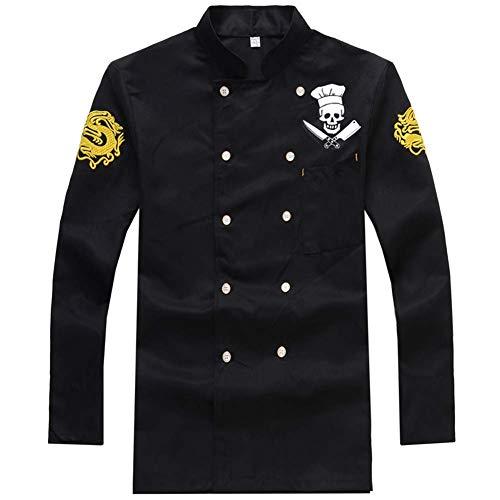 Bycloth Küche Kochjacke, Lange Ärmel Koch Arbeit Uniform Chef Mantel Zweireihige Kochjacke,Schwarz,XL