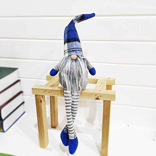 Ansenesna Weihnachten Wichtel Figuren Groß Stoff Zwerge Christmas Schaufenster Schmuck Deko (Blau 3)