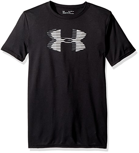 Under Armour Boys' Tech Big Logo Solid T-Shirt, Black (001)/Steel, Youth Medium