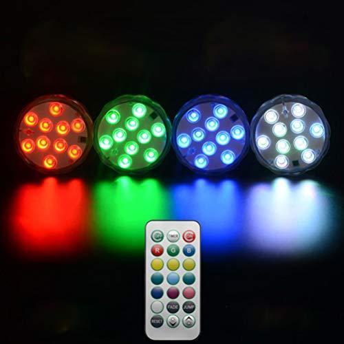 Uonlytech LED-Tauchleuchten, wasserdichte Poolleuchten mit Fernbedienung, LED-Teichleuchten für Swimmingpool (2 Stk.)