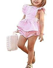2 Piezas Traje Verano de Bebé Niña Conjunto a Cuadros Rosa Camiseta Vestido sin Manga con Volantes y Espalda Cruzada Pantalones Cortos Braguitas de Cintura Elástica