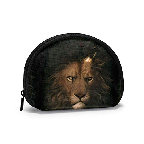 Lion Head in Crown Black French Bulldog Portrait Coin Purse Change Pouch Wallet Bag for Card Key Lipstick