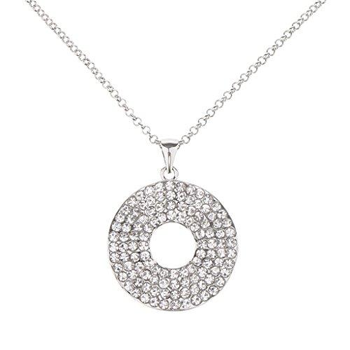 IPOTCH 1 Pieza de Disco Colgante Collar, 5 Colores de Selección, Material de Acero Inoxidable con Incrustación de Diamantes Artificiales - # 3
