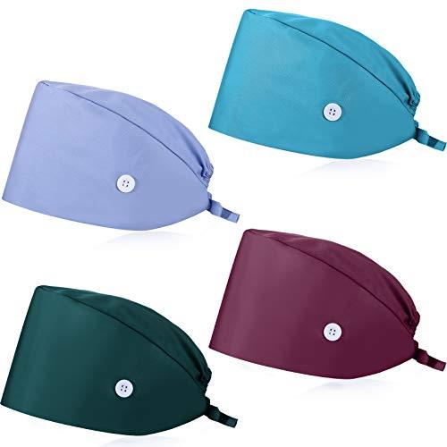 SATINIOR 4 Stücke Kürbisförmige Kappen mit Knopf Schweißband Verstellbare Füllig Kappen Krawatte Rücken Haar Abdeckung Hüte für Frauen Männer (Dunkelgrün, Seeblau, Traube Lila, Hell Blau)