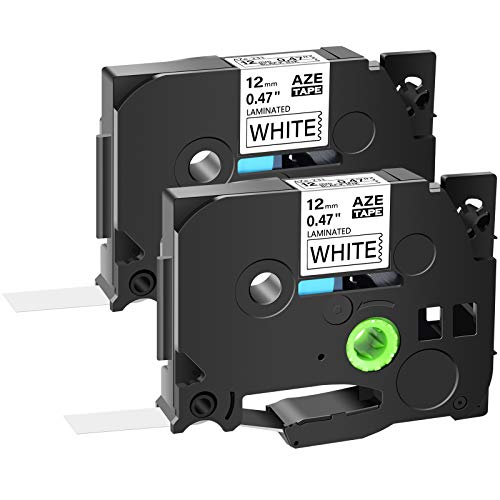 """GREENCYCLE Compatible for Brother AZE231 TZE-231 TZ-231 Black on White Label Tape 1/2"""" 0.47 Inch 26.2ft 8m for Ptouch PTD200 D210 D215E D400 D600 PTH100 PTH110 PTP300BT P700 P750W PT-1280 (2 Pack)"""