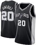 llp Jersey de Baloncesto para Hombres, Spurs # 20 Ginóbili Baloncesto Jersey, Unisex sin Mangas Camiseta Transpirable Camiseta (Color : Black, Size : Small)