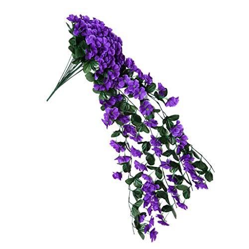 homozy Artificial Silk Violet Flowers Hanging Vine for - Blue, 75cm