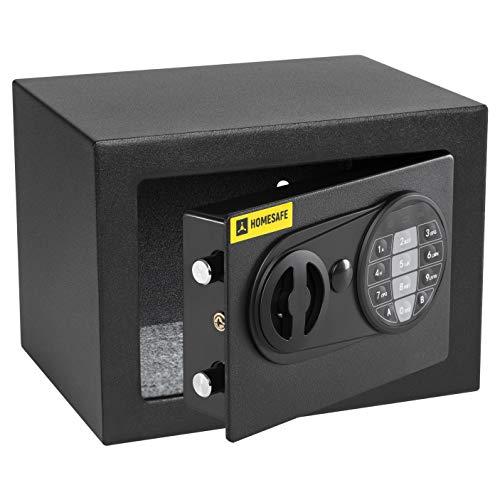 HomeSafe HV17E Caja fuerte Electrónica 17x23x17cm (HxWxD), Negro Satén de Carbón
