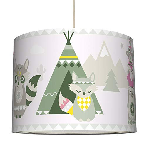 anna wand Hängelampe Little Indians BEIGE/Olive/PINK – Lampenschirm für Kinder/Baby Lampe mit Tier - Indianermotiv – Sanftes...