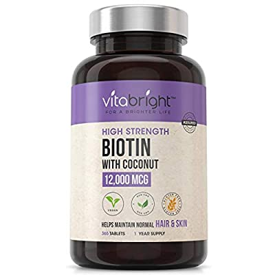 Biotin Hair Tablets 12,000mcg - High Strength - 1 Year Supply - Hair Skin and Nails Vitamins - Vegan Friendly Natural Biotin Supplement with Coconut Oil - for Normal Skin & Hair Growth in Men & Women