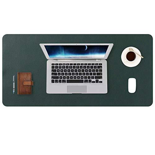 DOBAOJIA Tappetino per Mouse Grande Mouse Pad Mat XL Sottomano da Ufficio Tappetino da Tavolo Pad per Scrivania Laptop, Pelle PU Impermeabile + Scamosciata Antiscivolo 80 x 40 cm (Verde Scuro)