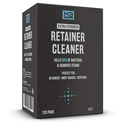 M3 Naturals Retainer and Denture Cleaner 120 Tablets Removes Bacteria Bad Odors Discoloration Stains Plaque for Cleaning Invisalign Mouth Guard Night Guard and Removable Dental Appliances