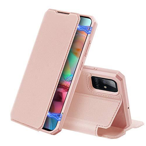 DUX DUCIS Hülle für Samsung Galaxy A71, Premium Leder Magnetic Closure Flip Schutzhülle handyhülle für Samsung Galaxy A71 Tasche (Rosa)