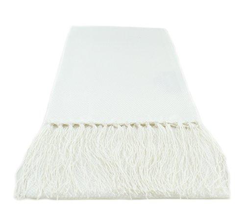 Michelsons of London Blanc étroite écharpe de soie de la robe de