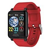 Wsaman Pulsera de Fitness, Reloj Deportivo a Prueba de Agua, con Monitor de Sueño Pulsómetros, para Hombre Mujer,Calorías Pulsera Deporte,Rojo