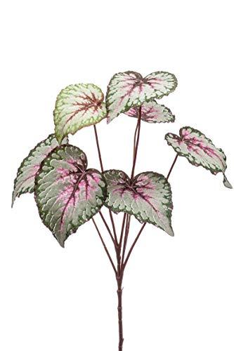 artplants.de Set 12 x Kunst Blattbegonien Zweig Meira, grün-rosa, 60cm - Deko Buntnessel - Textil Begonia