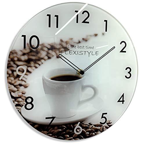 FLEXISTYLE Originelle, natürliche Glaswanduhr Coffee 30cm, leise, Nicht tickend, Küche, Esszimmer, Made in EU
