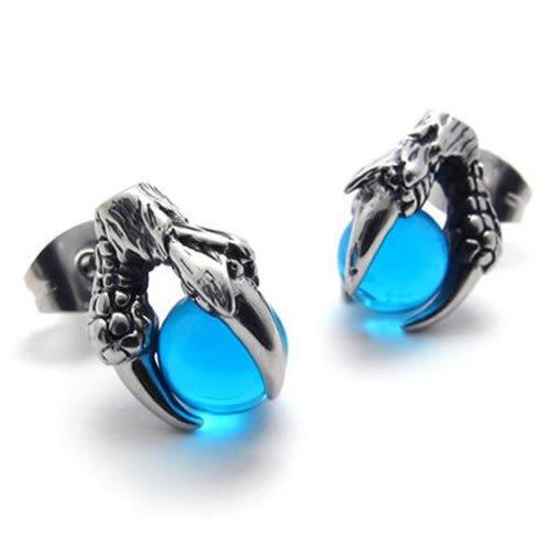 KONOV Joyería Pendientes de hombre, Garra del dragón Tribal Gótico, Semental, Cristal, Acero inoxidable, Color azul plata (con bolsa de regalo)
