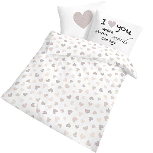 Baby Kinder Biber Bettwäsche Mädchen & Jungen · HEARTBEAT · I love you more Herz & Herzchen - Kissenbezug 40x60 + Bettbezug 100x135 cm