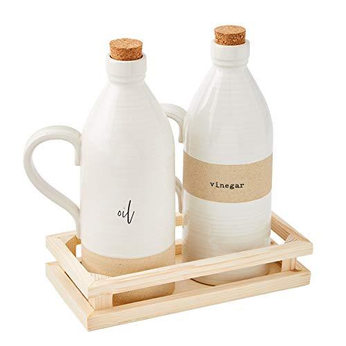 Mud Pie Stoneware Oil and Vinegar Set, decanter 8' x 3' | crate 1 1/2' x 7', White