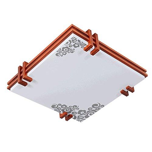 Lámparas de techo rústicas Luz de techo cuadrada de la madera sólida del LED, luz de techo china del dormitorio de la sala de estar, luz de techo de acrílico ultrafina Lámpara de techo Farmhouse