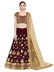 KEDARFAB Womens Taffeta Silk Embroidery Lehenga Choli With Blouse Piece (Free Size blue maroon)