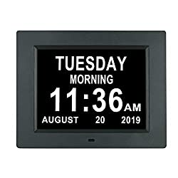 [Newest Version] Digital Day Calendar Clock Auto Dimming 3 Medication Reminder Non-Abbreviated Day Date Month Dementia Clocks for Seniors Elderly Impaired Vision(8 Black)
