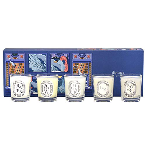 Diptyque Set of 5 Home Scented Candles Holiday Gift Set: Baies, Roses, Figuier, Tubéreuse, and Lys