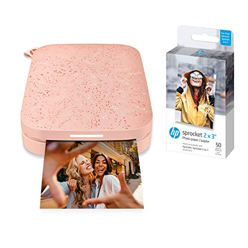 HP Sprocket Portable Photo Printer (2nd Edition) – Instantly Print 2x3 Sticky-Backed Photos from Your Phone – [Blush] [1AS89A] + HP Papier Tintenstrahldrucker – Papiere Tintenstrahldrucker