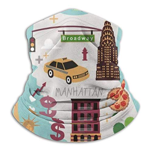 Leo-Shop Nueva York Mapa Ilustración Calentador de Cuello, Cubierta Facial Cuello Sombreros Motocicleta para Mujeres Hombres Pañuelo Facial Bandana